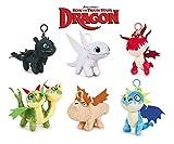 HTTYD Dragons, como Entrenar a tu dragón - Pack de 6 Peluche Llavero de Dragones 11cm Calidad Super...