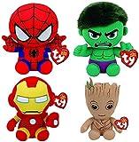Marvel Peluche de superhéroe TY de 4 Piezas (Set) - 15 cm