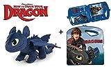 Como entrenar a tu Dragon (HTTYD) - Pack peluche Desdentado Toothless Furia Nocturna Negro 40cm +...